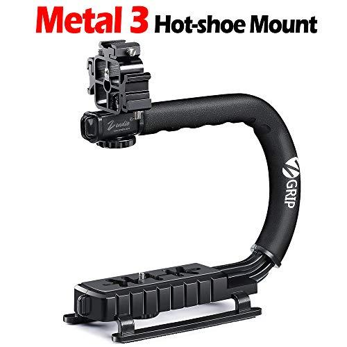 Zeadio Video Action Stabilizing Handle Grip Handheld Stabilizer With Metal Triple Shoe Mount For Canon Nikon Sony Panasonic Pentax Olympus Dslr Camera Camcorder