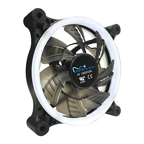 Apevia 12L-Cwh 120Mm Silent Dual Rings White Led Fan With 32 X Leds & 8 X Anti-Vibration Rubber Pads