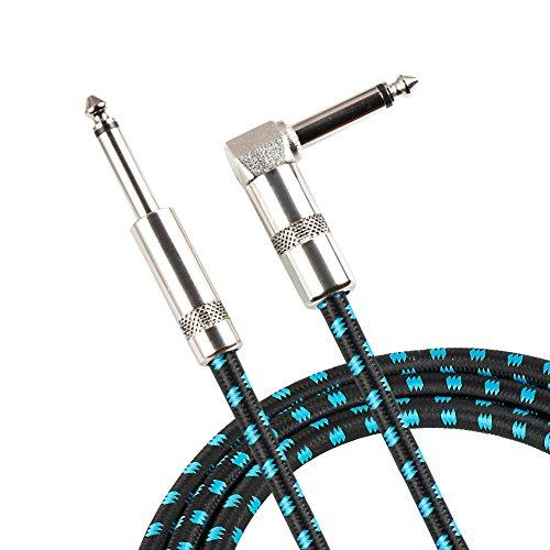 Guitar Cable, Vandesail Professional Musical Instruments Cable Noiseless Helical Shield Tweed Woven Jacket Type Straight And L Shape Plugs For Electric Guitar & Bass Keyboard