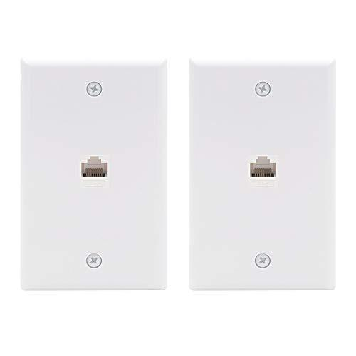 Vce 2-Pack 1 Port Rj45 Cat6 Female To Female Connector Ethernet Wall Plate, Ul Listed Rj45 Keystone Jack Inline Coupler Faceplates - White