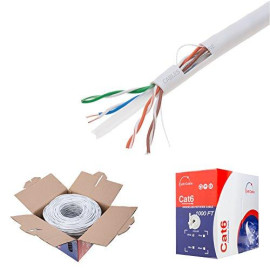 White Cat6 1000Ft Utp Solid Cable 550Mhz Ethernet Lan Cable 23Awg Rj45 Network Wire Bulk (White)