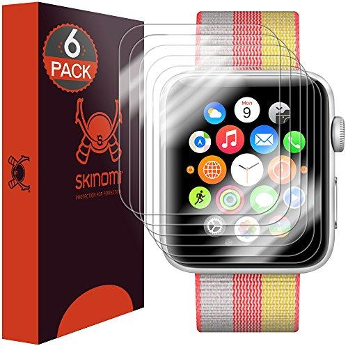 Skinomi Techskin [6-Pack] (Newly Revised) Clear Screen Protector For Apple Watch 42Mm Series 3/Series 2/Series 1 [Full Coverage] Anti-Bubble Hd Tpu Film