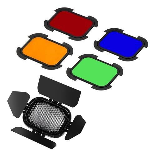 Flashpoint Barndoor Kit For The Evolv 200 Fresnel Head With 4 Color Gels (Bd-07)