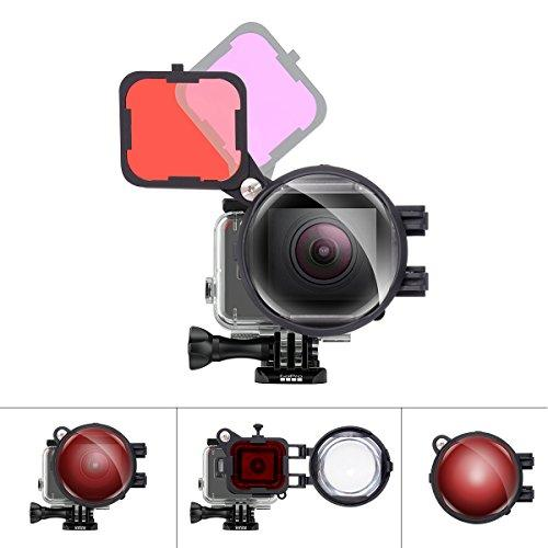 3In1 Dive Lens Combo 16X Macro Lens + Red + Magenta Color Correction Filter Set Compatible With Gopro Hero 7 6 5 Black For Tropical Blue/River Lake Green Water Diving Underwater Scuba Photography