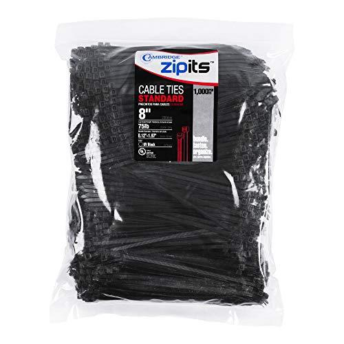 Cambridge Zipits Cable Ties Zip Ties 8 Inch 75 Lb Standard Duty 1000 Pieces Uv Black Ul Listed Contractor Quality Industrial Strength
