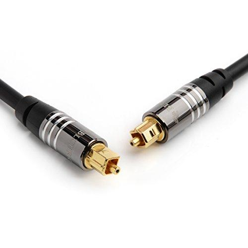 Bluerigger Premium Digital Optical Audio Toslink Cable - With 24K Gold Plated Connectors (For Home Theatre, Xbox, Playstation Etc.) (6Ft)