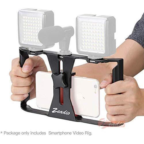 Zeadio Smartphone Video Rig, Phone Movies Mount Handle Grip Stabilizer, Filmmaking Recording Rig Case For Video Maker Filmmaker Videographer - Fits Iphone, Samsung, And All Phones