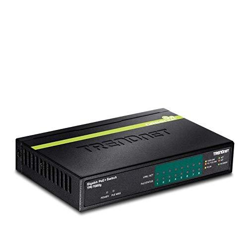 Trendnet 8-Port Greennet Gigabit Poe+ Switch, Tpe-Tg82G, Supports Poe And Poe+ Devices, 61W Poe Budget, 16Gbps Switching Capacity, Data & Power Via Ethernet To Poe Access Points & Ip Cameras