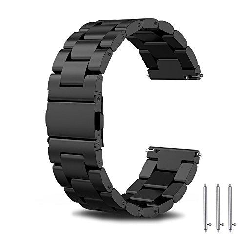Torotop Compatible For Samsung Gear Sport/Galaxy Watch 42Mm Band/Galaxy Watch Active2 40Mm 44Mm Bands 20Mm Replacement Stainless Steel Band Gear S2 Classic/Ticwatch 2 Huawei Watch 2(Black Metal)