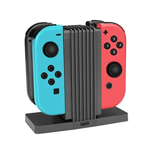 Tnp Joy-Con Charger Dock Stand Holder For Nintendo Switch - 4 In 1 Charge Station Storage Display Stand With Led Indicator For Nintendo Switch Joy-Con Controller