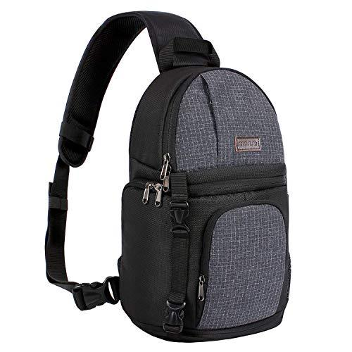 Mosiso Camera Sling Bag, Dslr/Slr/Mirrorless Case Water Repellent Shockproof Photography Camera Backpack With Tripod Holder &Amp; Removable Modular Inserts Compatible With Canon/Nikon/Sony/Fuji, Black