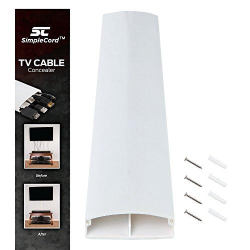 Simple Cord Tv On-Wall Cord Cover Conceals Cables, Cords, Or Wires, 32 Inch Wall Raceway - Simplecord Dual Channel Cable Management System