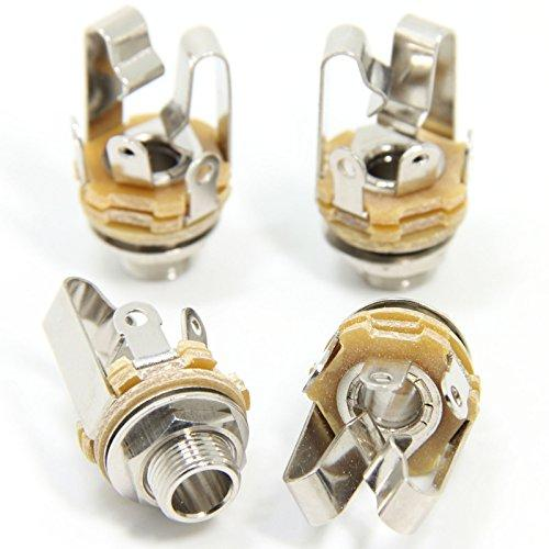 """Ancable 4-Pack 1/4"""" Stereo Female Jack -6.35Mm Trs Panel Mount Socket With Washer And Nut Solder Type For Guitar Pedals Bass Fender Footswitch And Any Other Applications With 6.35Mm"""