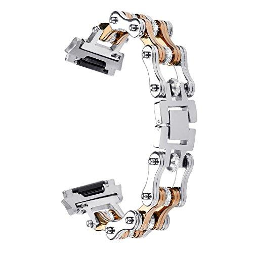 For Fitbit Ionic Bands, Aisports Fitbit Ionic Stainless Steel Chain Band Smart Watch Adjustable Replacement Band Bracelet Buckle Clasp For Fitbit Ionic Fitness Accessories - Silver/Rose Gold