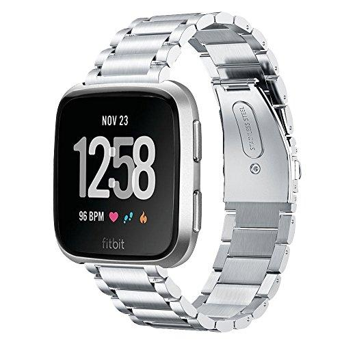 Vigoss Metal Strap Compatible With Fitbit Versa Bands/Lite Edition Band Silver Solid Stainless Steel Versa Bracelet Rreplacement For Fitbit Versa/Lite Edition Smartwatch Men Women