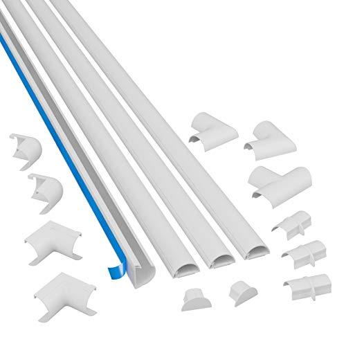 """D-Line Medium Cable Raceway Kit, 13 Feet Of Self Adhesive Cord Covers With Connector Accessories, Electrical Wire Concealer For Home Theater, Tv, And Office   4 X 39"""" Channels Per Pack (White)"""