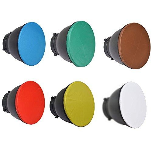 """Bestshoot 6Pack 7"""" 180Mm Light Diffuser Sock For Standard Reflector Red Yellow Blue Brown Green And White For Studio Strobe Standard Bowen Mount Reflector Fits Godox Ad360.Monolights Speedlites"""