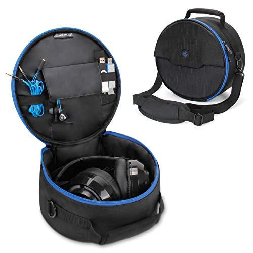 Enhance Portable Headphone Case For Wired & Bluetooth Wireless Headsets - Compatible With Beats, Bose, Sony And More - Dual Layered Padding, Accessory Storage, Shoulder Strap & Carrying Handle