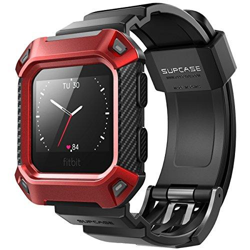 Supcase Fitbit Blaze Bands With Protective Case, [Unicorn Beetle Pro] Rugged Case Strap Bands For Fitbit Blaze Fitness Smart Watch (Red)