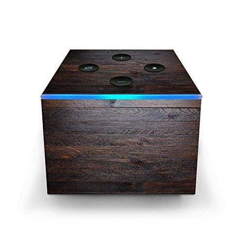 Skin Decal Vinyl Wrap For electroeshop Fire Tv Cube & Remote Alexa Stickers Skins Cover/Wooden Wall Pattern