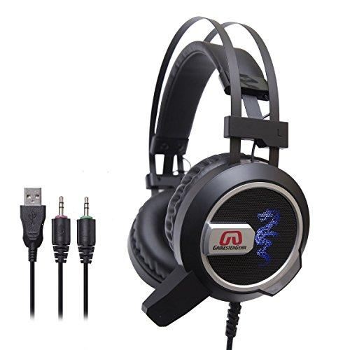Gamestergear Falcon Over The Ear Stereo Pc Gaming Headset 3.5Mm Surround Sound Audio With Omnidirectional Microphone - Led Lights - Volume Control