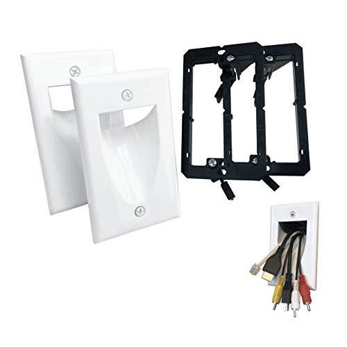 Kcc Industries 1-Gang Recessed Low Voltage Cable Plate With Mounting Bracket +Ul/Csa Listed Safe+ (2-Pack, White)