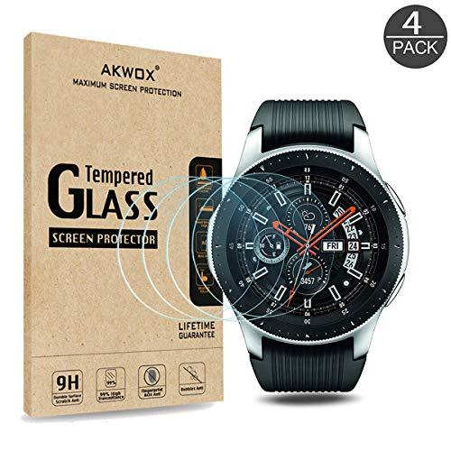 [4 Pack] Akwox Tempered Glass Screen Protector For Samsung Galaxy Watch 46Mm, [0.33Mm 2.5D High Definition 9H] Premium Clear Screen Protector For Galaxy Watch Sm-800/Sm-R805