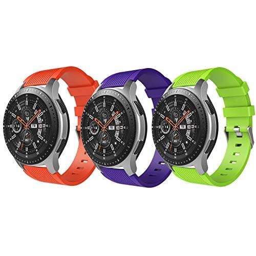 Timovo Band Compatible With Samsung Galaxy Watch 46Mm, [3-Pack] Soft Silicone Strap Fit Samsung Gear S3 Classic/S3 Frontier/Moto 360 2Nd Gen 46Mm Smart Watch - Purple & Orange & Green