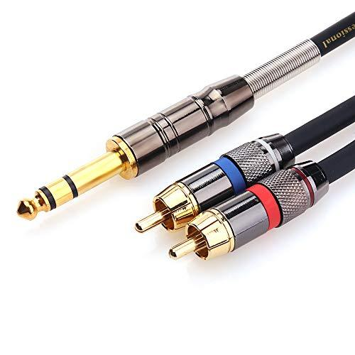Tisino Rca To 1/4 Cable, Quarter Inch Trs To Rca (1/4 Stereo To 2 Rca) Audio Y Splitter Cable Insert Cable - 10 Feet/3 Meters