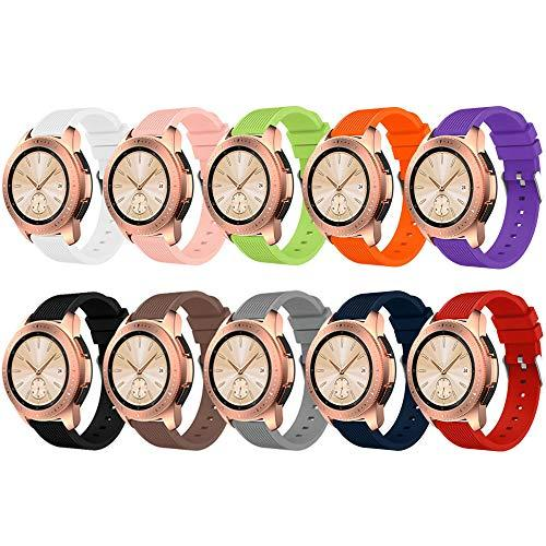 Zszcxd Compatible For Samsung Galaxy Watch 42Mm, 20Mm Width Silicone Replacement Strap Wristband Watchband For Samsung Galaxy (42Mm) Sm-R810/Sm-R815 (A - 10Pcs, 20Mm Width)