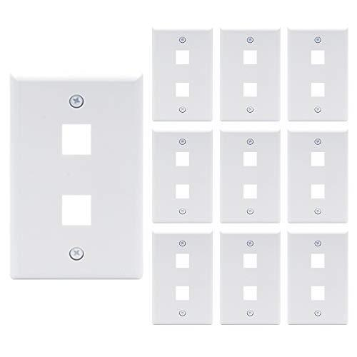 Vce 10 Pack 2-Port Keystone Wall Plate For Keystone Jack And Modular Inserts- White Ul Listed