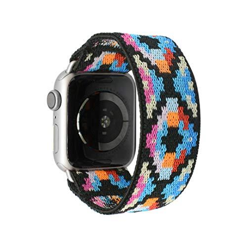 Tefeca Geometry Pattern Elastic Compatible/Replacement Band For Apple Watch 38Mm/40Mm (Silver Adapter, L3 Fits Wrist Size : 6.5-7 Inch)