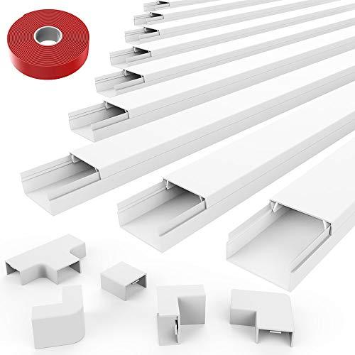 """Wide+ On-Wall Cord Hider - Small Cable Concealer Cord Cover - 150 Inch Paintable White Cable Management Channel To Hide Cables, Cords, Wires In Home &Amp; Office - 0.78""""(W) X0.39""""(H)"""