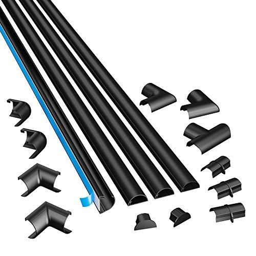 """D-Line Medium Cable Raceway Kit, 13 Feet Of Self Adhesive Cord Covers With Connector Accessories, Electrical Wire Concealer For Home Theater, Tv, And Office   4 X 39"""" Channels Per Pack (Black)"""