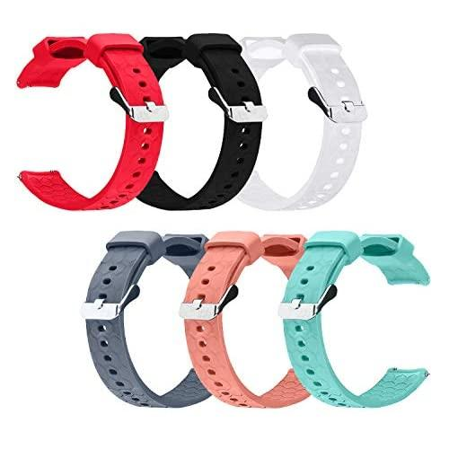 Tencloud For Garmin Vivomove/Vivoactive 3/ Music Smartwatch Replacement Wearable Accessories Adjustable Silicone Sport Band W/Metal Hardware (All Colors-6Pc)