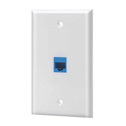 Sancable - Ethernet Wall Plate, 1 Port Cat6 Keystone Female To Female - White