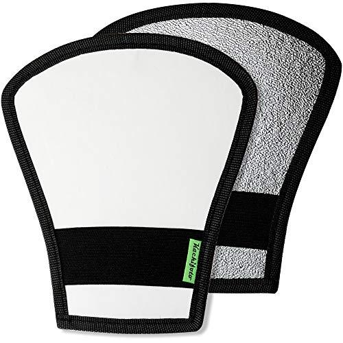 2 Pack Flash Diffuser Reflector - 2-Sided White/Silver Bend Bounce Flash Reflector Kit With Elastic Strap For Canon, Nikon, Sony, Fuji And All Speedlight Flashes - By Kachifoto