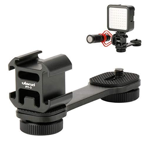 Ulanzi Pt-3 Aluminum Triple Cold Shoe Mount Adapter Vlog Video Microphone Extension Bar For Zhiyun Smooth 4 Dji Osmo Pocket Osmo Mobile 2/Osmo Mobile 3 Feiyutech Vimble 2 3-Axis Gimbal Accessories