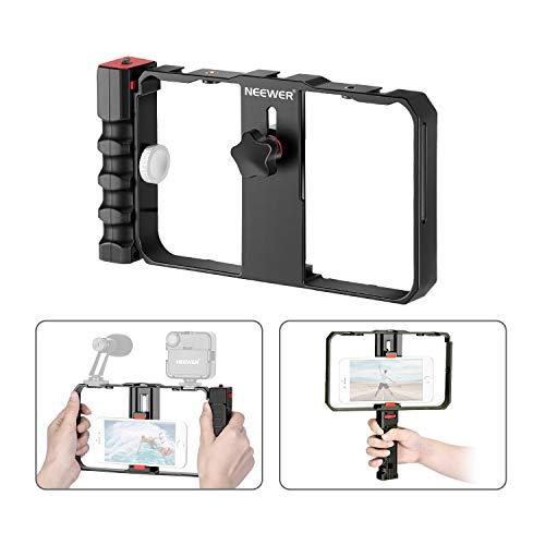 Neewer Smartphone Camera Stabilizer Video Rig, Filmmaking Case, Phone Video Stabilizer Grip Tripod Mount For Videomaker Film-Maker Video-Grapher For Iphone 11 11 Pro 11 Pro Max X Xs Huawei Samsung