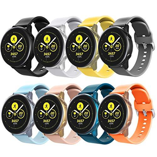 Timovo Band Compatible With Galaxy Watch Active, [8-Pack] Soft Silicone Adjustable Watchband Fit Galaxy Watch 42Mm/Active 2 (40Mm)/Active 2 (44Mm)/Gear S2 Classic/Gear Sport - Multi Color A
