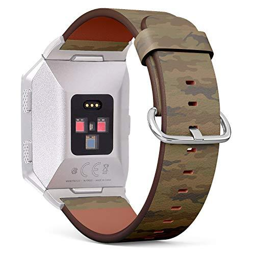 Compatible With Fitbit Ionic Leather Watch Wrist Band Strap Bracelet With Stainless Steel Clasp And Adapters (Camouflage Khaki)