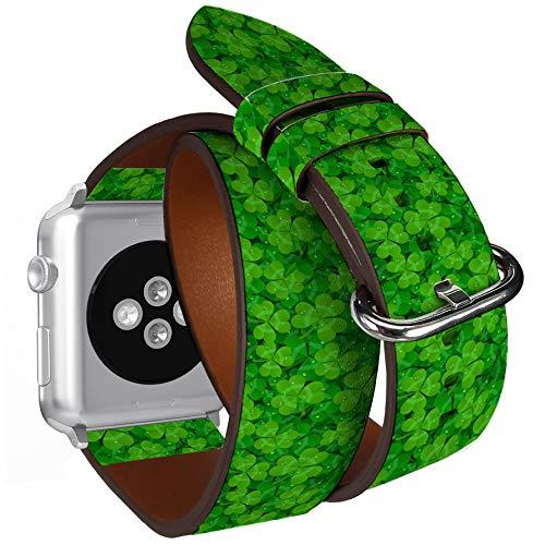 Compatible With Apple Watch (Big 42Mm/44Mm) Series 1,2,3,4 - Double Tour Bracelet Strap Wristband Smart Watch Band Replacement - Saint Patricks Day Shamrock