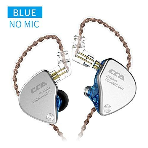 Cca Ca4 In-Ear Headphones 1 Dd & 1 Ba Earphone Hifi Dj Stereo Deep Bass Earbuds With Detachable Cable Noise Isolating Metal Headset With Hybrid Driver For Running, Jogging, Walking(Blue No Mic)