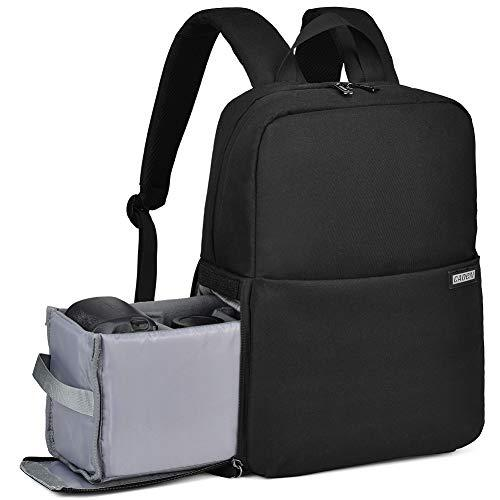 Caden Camera Bag Backpack W/14 Laptop Compartment Waterproof, Camera Case For Dslr Mirrorless Slr Cameras, Compatible For Sony Canon Nikon Camera And Lens Tripod Accessories Black