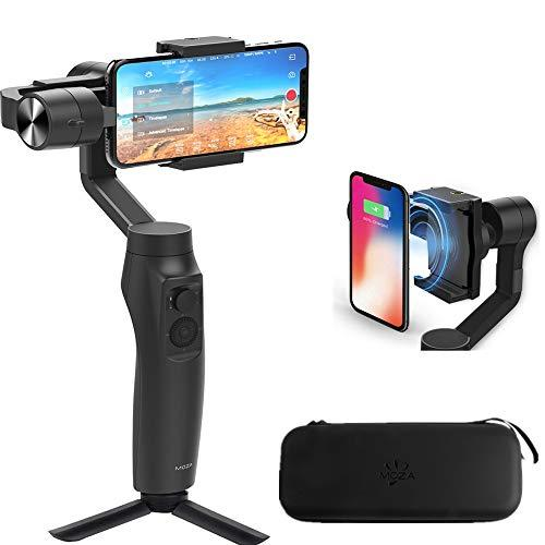 Moza Mini-Mi 3-Axis Smartphone Wireless Charging Gimbal Stabilizer, Multiple Subjects Detection, Inception Mode, Timelapse For Iphone X/8/7/7 Plus/6/6 Plus,Samsung Galaxy S8+/S8/S7 (With Gopro Adapter