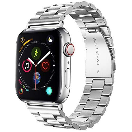 Supoix 42Mm/44Mm Xl Large Bands Compatible With Apple Watch Series 5 4 44Mm/Series 3 2 1 42Mm, Stainless Steel Metal Link Replacement Wristbands Strap For Men-Silver
