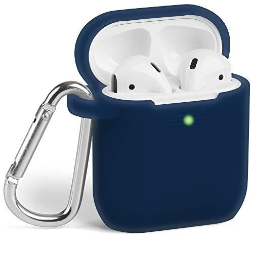 Airpods Case, Gmyle Silicone Protective Shockproof Wireless Charging Airpods Earbuds Case Cover Skin With Keychain Kit Set Compatible For Apple Airpods 1 &Amp; 2 2016-2019 - Navy Blue [Front Led Visible]