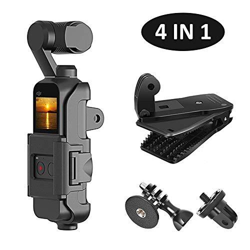 Kiwi Design 4-In-1 Tripod Mount Holder For Dji Osmo Pocket, Osmo Pocket Accessories Expansion Kit Protective Frame With Backpack Clip, Tripod Mount Adapter And Screw Adapter