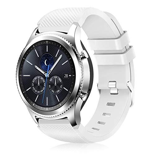Creategreat For Samsung Galaxy Watch 46Mm, Gear S3 Soft Replacement Breathable Sport Bands With Air Holes And Quick Release Pin For Samsung Gear S3/Galaxy 46Mm Watch (#03 White)