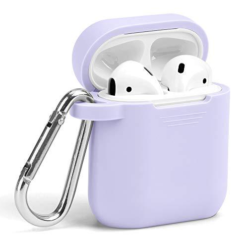 Airpods Case, Gmyle Silicone Protective Shockproof Wireless Charging Airpods Earbuds Case Cover Skin With Keychain Kit Set Compatible For Apple Airpods 1 &Amp; 2 - Lavender Purple